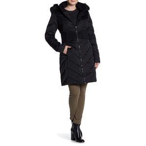 TAHARI Black Puffer Hooded Faux Fur Coat